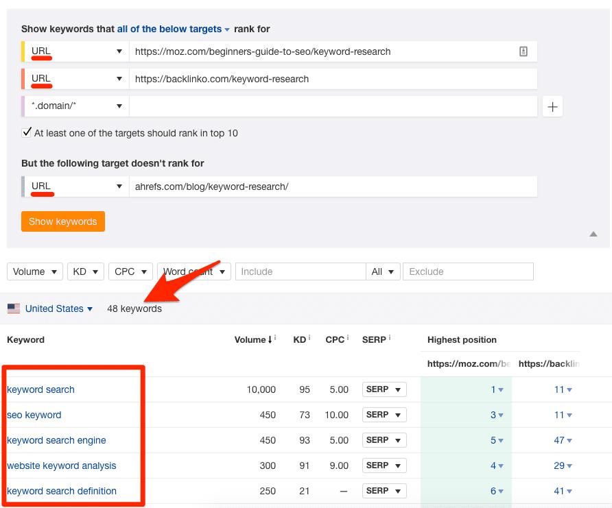 Fill content gaps target page comparison